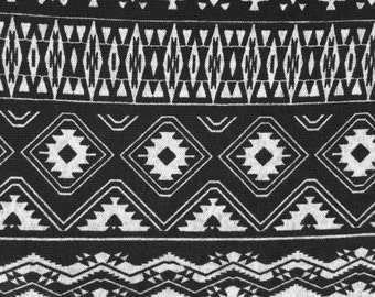 Black and gray Navajo  cotton jersey spandex knit