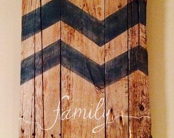 """Reclaimed wood chevron """"family"""" wall art"""