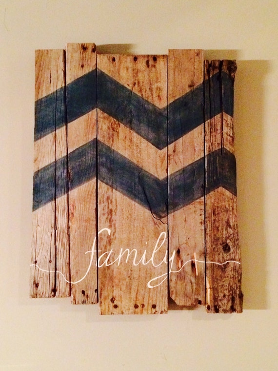 Chevron Wood Wall Decor : Reclaimed wood chevron family wall art