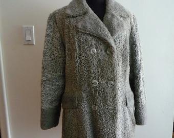 1970's Grey Faux Fur Coat