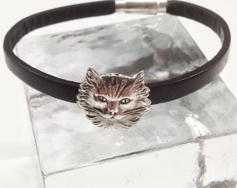 Bracelet 925 Silver cat head