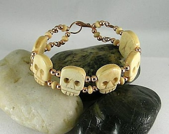 Happy Halloween Gothic Memento Mori Bone Skull Bracelet Copper Wire