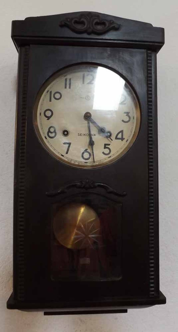 Rare Antique Seikosha Wall Clock Made In Tokyo Japan Chimes