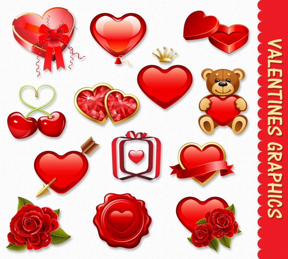 Valentines Day Clip Art Graphics Hearts Clipart Scrapbook