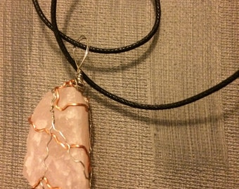 Copper and silver wire wrapped rose quartz necklace