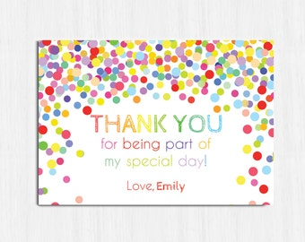 Confetti Thank you card, Printable birthday thank you card, matches the confetti Birthday Party invitation, bright party thank you card