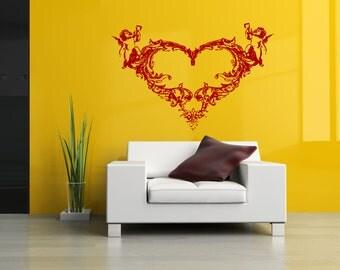 Wall Vinyl Sticker Decals Mural Room Design Heart  Love Romantic bo009
