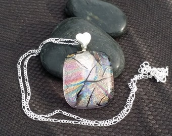 Clear dichroic pendant with silver finding