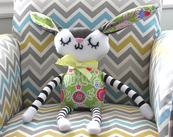 CUSTOM BUNNY! Handmade Plush, Green and Pink Bunny - Children's/Toddler Toy