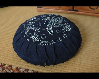 Zafu, handmade meditation cushion, with buckwheat hull. Pattern #3