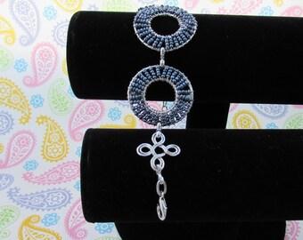 Jewelry,Bracelets,Grey Blue Seed Bead Bracelet,Handmade Jewelry,Handmade Bracelets,Accessories,Silver Jewelry,Cuff Bracelet,Beaded Bangles