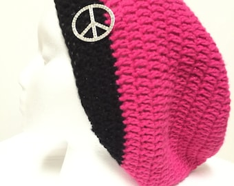Crochet Oversized Slouchy Hot Pink and Black Hat with Rhinestone Peace Sign