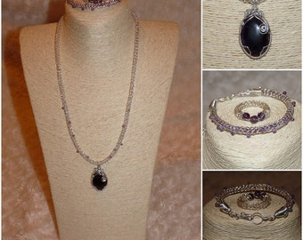 Amethyst cabochon wire wrap and viking knit chain set, using silver plated wire.