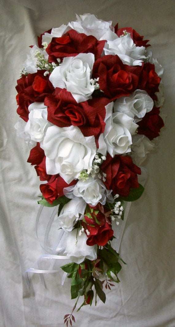 silk cascade red and white bridal wedding bouquet 14 pc free. Black Bedroom Furniture Sets. Home Design Ideas