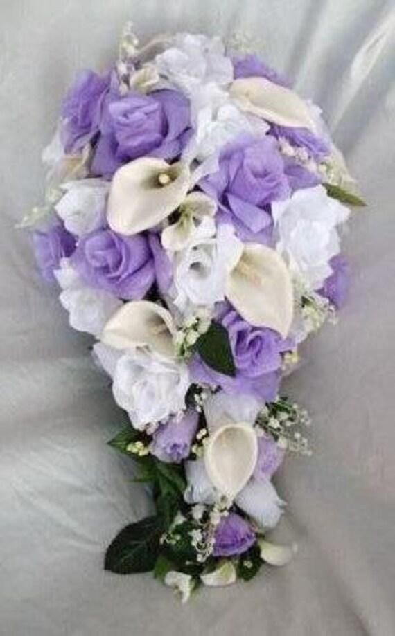 Lavender and white silk bride bouquet cascade 2 pieces
