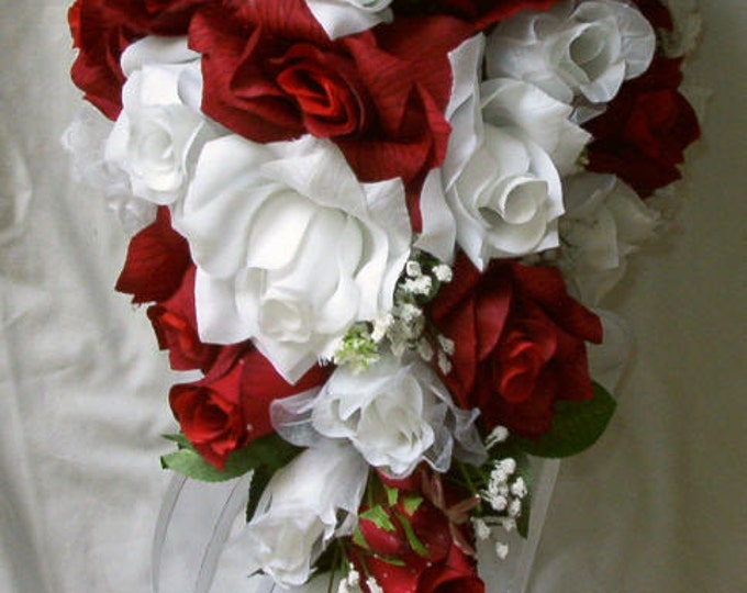 Silk Cascade Red and White  Bridal Wedding bouquet  14 pc Free toss bouquet included