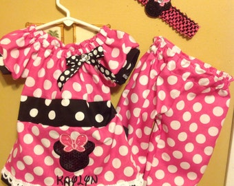 Minnie Mouse pink dress with bloomers and matching hair bow