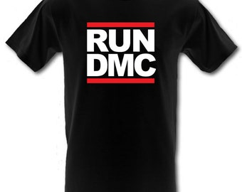 RUN DMC Hip Hop retro Rap Classic Logo 100% Cotton t-shirt All Sizes Small - XXL (kids and adults)