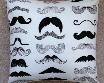 Custom Pillow Cover Mustache Black White 14""