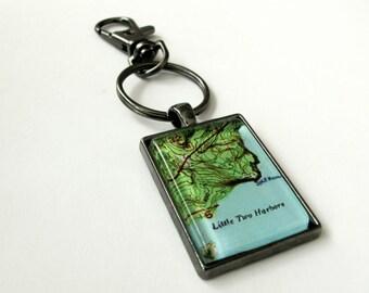 "Custom Map Lake Keychain - choose your finish 1""x1.5"""