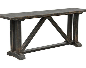 Table, Reclaimed Salvaged Solid Wood, Console Table, Vintage and Rustic