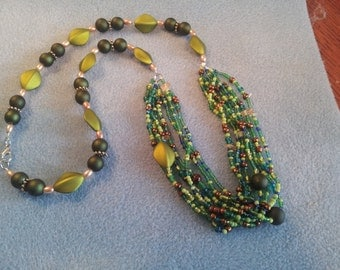 Boho necklace with different shades of greens
