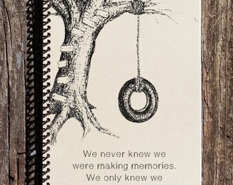 Friendship Journal - Friendship Notebook - Tire Swing Picture - Memories with Friends - Childhood Memoiries - Sister Gift - Brother Gift