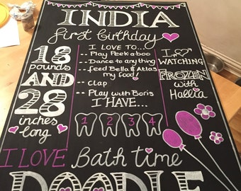 Personalised chalk board for Birthdays, Christenings, Weddings Photo Shoots and Cake Smashes