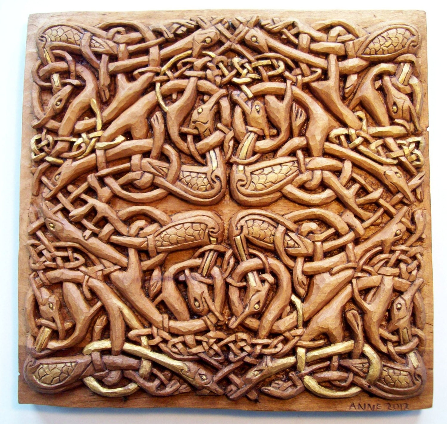 Celtic birds wood carving handmade woodcarving