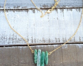 4 stone amazonite gemstone pendant necklace on 18k gold chain