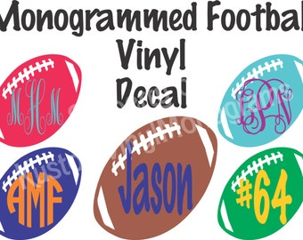 Monogrammed Football Vinyl Decal / Personalized Car Decal / Computer Decal / Wall Vinyl / Sports Sticker / Phone Monogram Decal