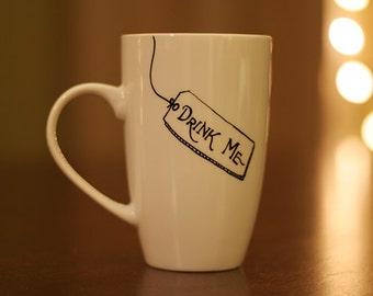 Drink Me Alice in Wonderland Inspired hand-painted mug