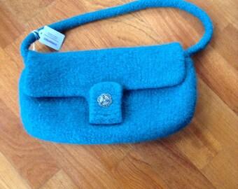 Teal felted handbag.