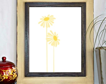 Yellow Flower / Floral Printable Wall Art - Office Wall Decor - Nursery Art Print - Kitchen Art - Instant Download