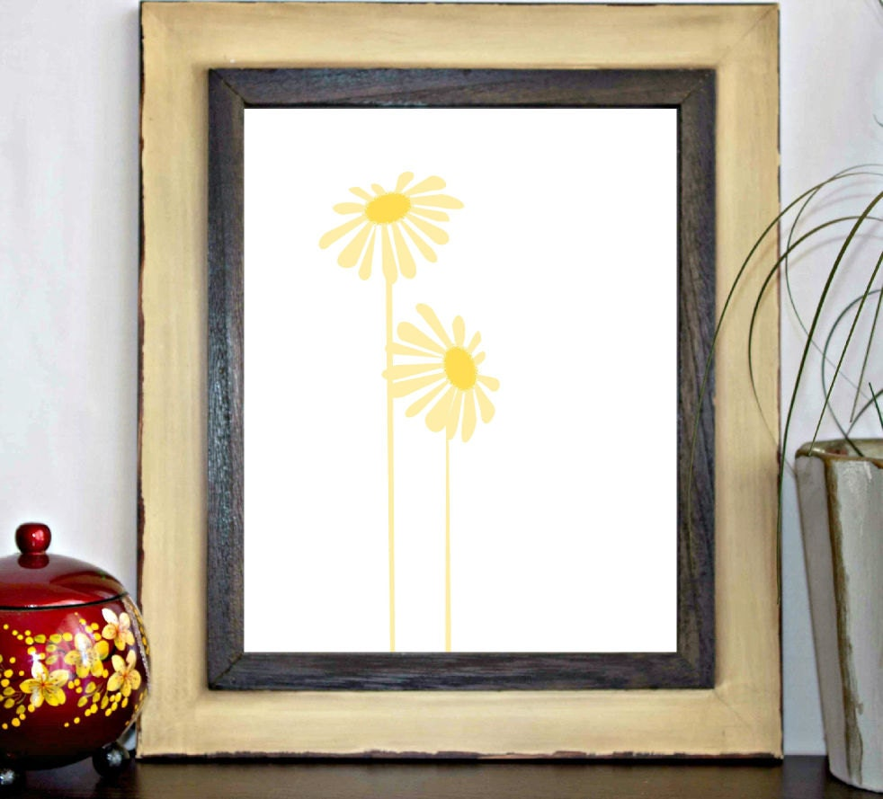 Yellow Flowers Wall Decor : Yellow flower floral printable wall art by primroaddesigns