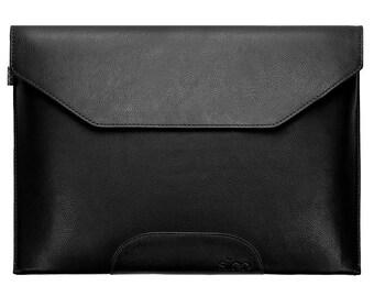 Laptop Sleeve Leather Black Bag Cover Case f. Macbook Air / Pro / Retina etc.