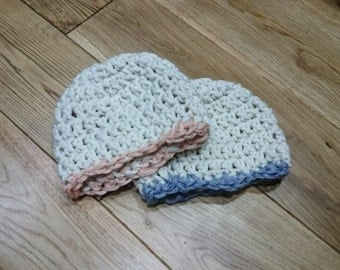 Soft Snuggly Chunky Crochet Newborn Baby Beanie Hat
