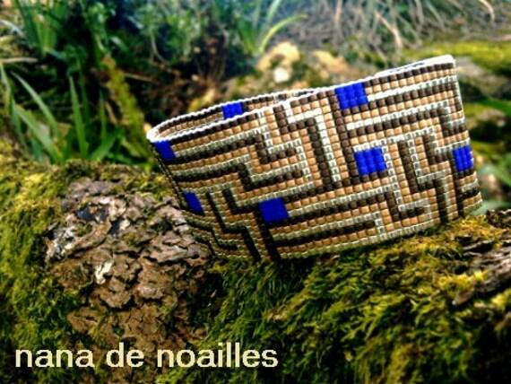Bracelet Manchette  Perles de rocailles Miyuki Tissées / collection Cognac-Jay /Modèle Doré