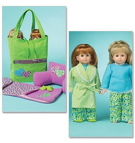 Free Crochet Pattern For American Girl Sleeping Bag : Slumber Party, 18? AG Doll Pattern, McCall s 5019, Pjs ...