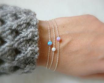 Opal bracelet, Pink opal bracelet, Blue opal bracelet, Sterling silver bracelet, Dot bracelet, Delicate bracelet, Simple bracelet