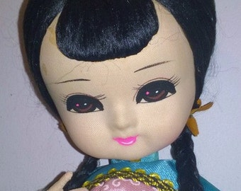 Vintage wide-eyed Japanese pose doll in traditional costume