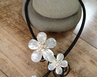 Handmade white pearl flower necklace/ metal free jewelryl/ metal free necklace/ wedding necklace/ wedding jewelry