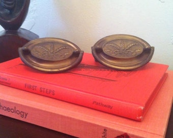 1940's Brass Wheat Drawer Pulls / Handles from Waterfall Style Stereo Record Player Console