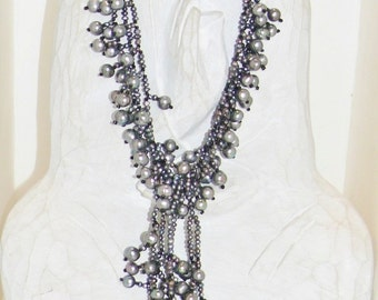 Black Onyx Freshwater Pearl Waterfall Necklace