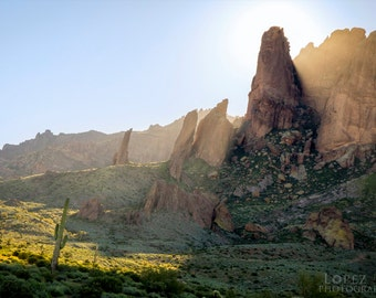 Sunrise Over Lost Dutchman Arizona Desert Fine Art Photograph Print Size 5 inches by 7 inches