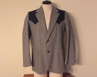 Vintage Western Sports Coat Jacket Wool Tweed