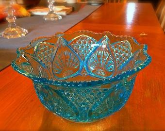 Light Blue pressed glass bowl