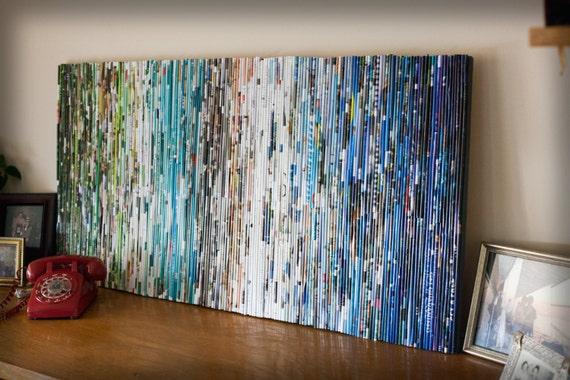 Items similar to rolled magazine wall art large scale on etsy - Magazine wall decor ...