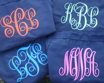 "Wedding party apron set of 4 custom embroidered monogrammed 24""L x 28""W bib apron with 3 pockets. Protect her gown! Ask for flower girl too!"