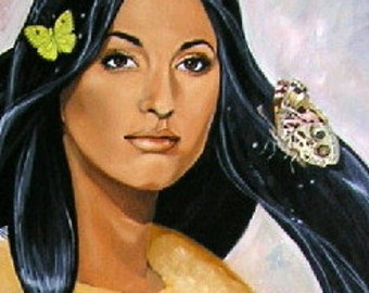 Print butterfly Native American Indian maiden collectible gift
